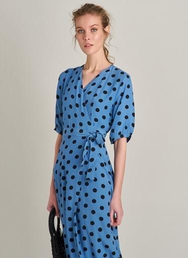 NGSTYLE Kruvaze Puantiyeli Elbise Mavi